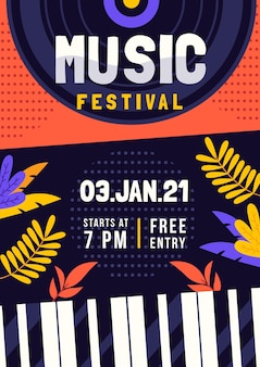 Illustrated flyer template music festival