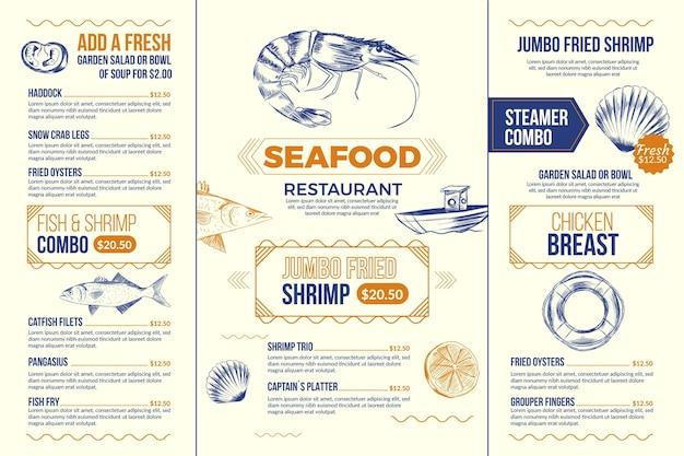 디지털 사용을위한 그림 된 음식 메뉴 템플릿