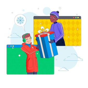 Illustrated friends celebrating christmas online due to quarantine
