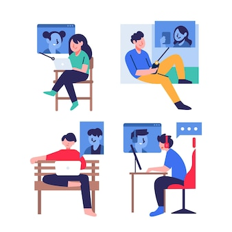 Illustrated friends videoconferencing scene