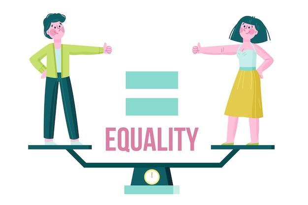 Иллюстрированная концепция гендерного равенства