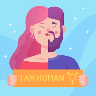 Illustrated gender identity concept