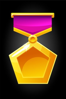 Illustrated gold medal for game. pentagonal medal template on the ribbon for the award.