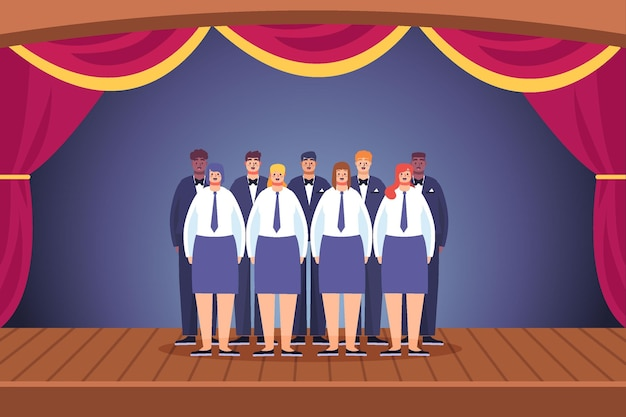 Illustrated gospel choir on scene