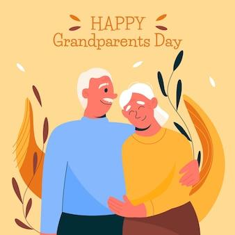 お互いを抱き締めるイラストの祖父母