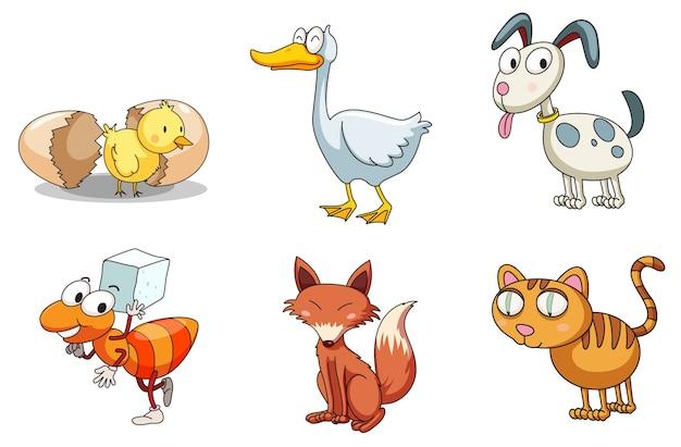 Иллюстрированная группа смешных животных