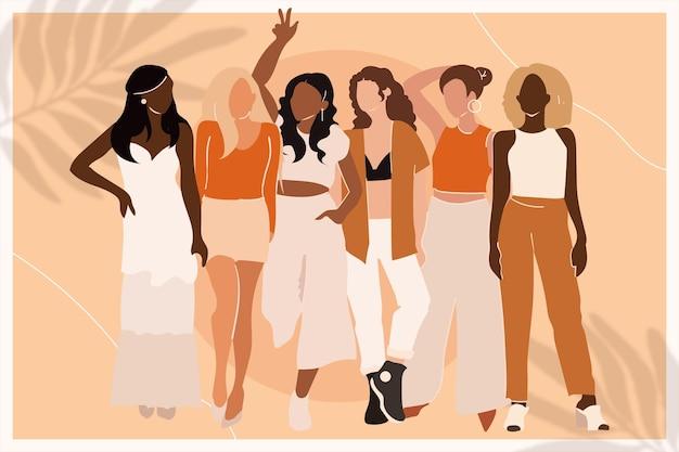 Иллюстрированная рисованная группа женщин