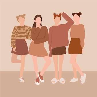 Illustrated hand drawn group of women