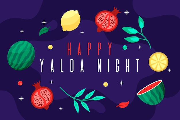 Illustrated hand drawn yalda elements