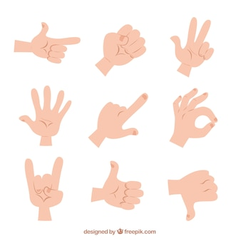 Illustrated hand gestures
