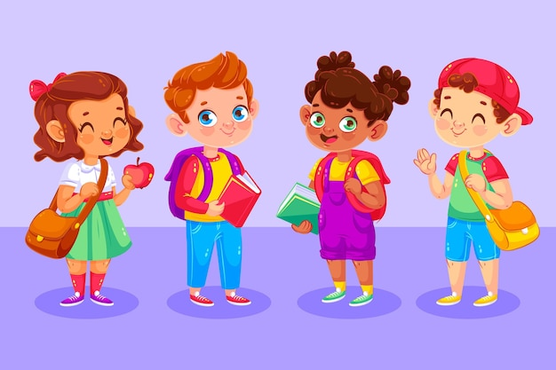 Illustrated happy children on their first day at school