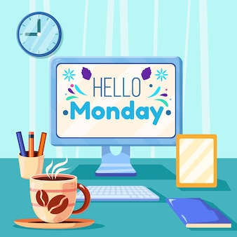 Illustrated hello monday background