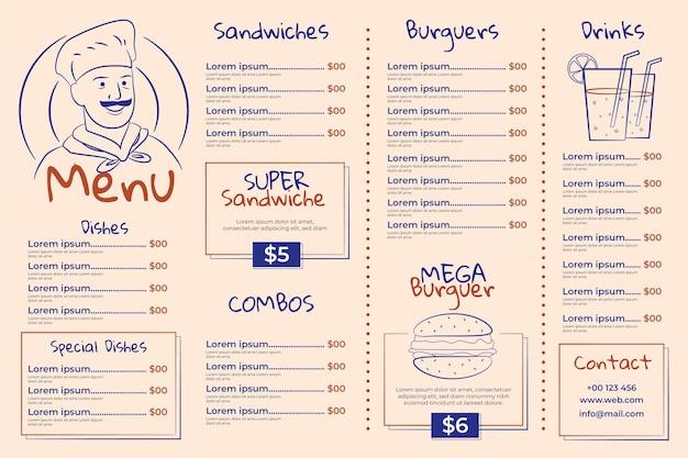 Modello di menu ristorante orizzontale illustrato