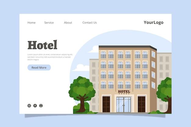 図解されたホテルのランディングページテンプレート