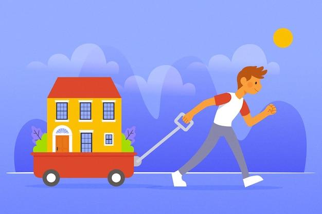 Иллюстрированная концепция переезда дома