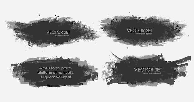 Иллюстрированная коллекция наборов чернильных пятен в черно-белом.