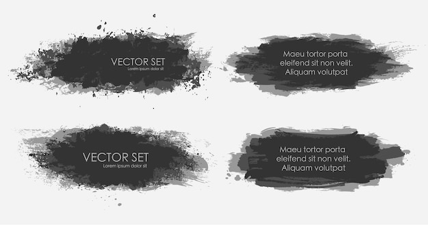 일러스트 잉크 반점은 흑백으로 컬렉션을 설정합니다.