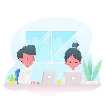 Illustrated internship job concept