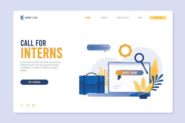 Illustrated internship program landing page template