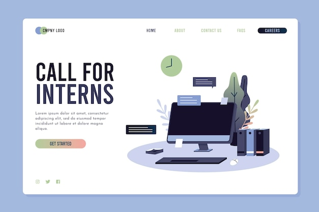 Illustrated internship program landing page