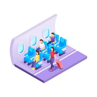 Illustrated isometric airplane borading