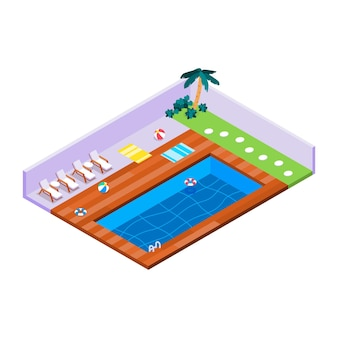 Illustrated isometric private pool
