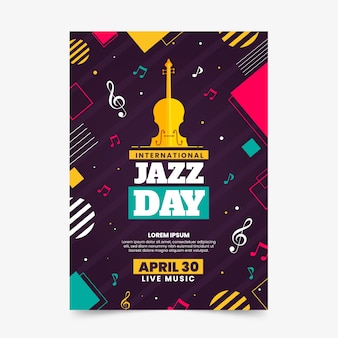 Illustrated jazz day flyer template