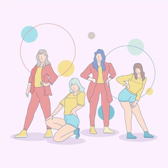 Illustrated k-pop girl group