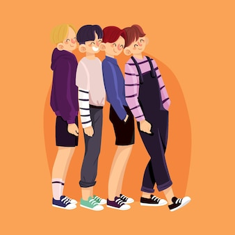 Иллюстрированная к-поп группа молодых парней