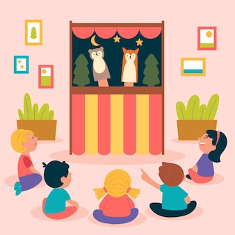 Bambini illustrati che guardano uno spettacolo di marionette carino