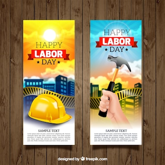 Illustrated labor day banners set