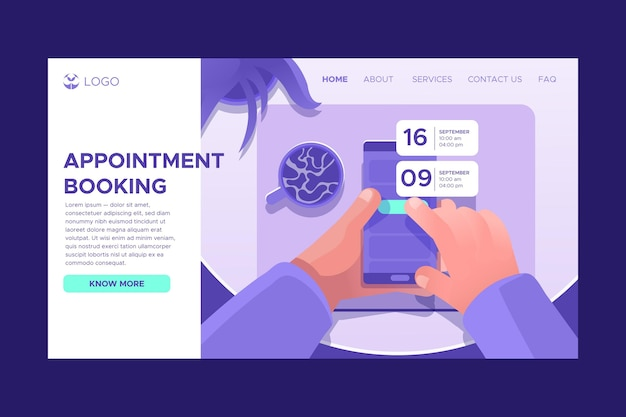 Illustrated landing page for booking an appointment
