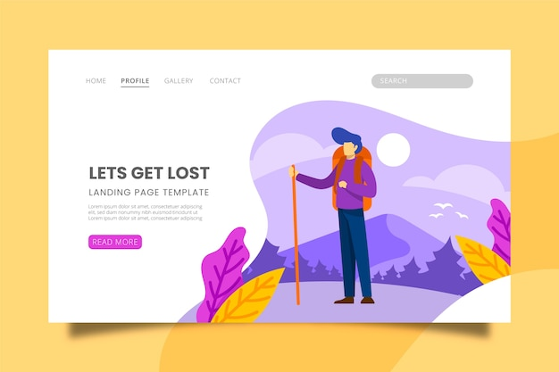 Illustrated landing page with travelling theme
