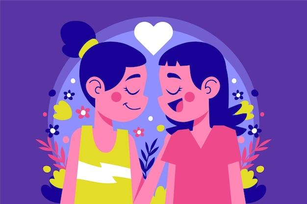 Иллюстрированная лесбийская пара улыбается