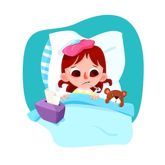 Illustrated little girl with a cold