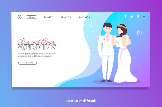 Illustrated lovely wedding landing page template