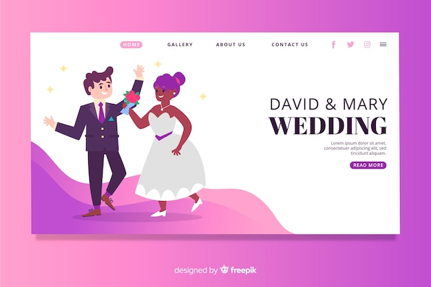 Illustrated lovely wedding landing page