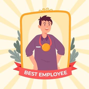 Иллюстрированный мужской работник месяца концепции
