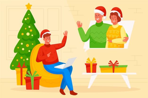 クリスマスの夜にビデオ通話をしているイラスト入りの男
