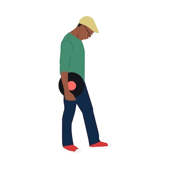Illustrated man holding classical vinyl record