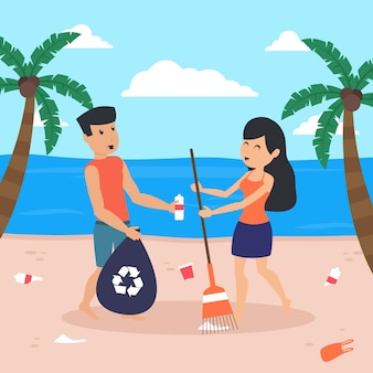 Illustrated man and woman cleaning together the beach