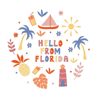 Illustrated map of the state of florida in united states with state symbols. editable vector illustration