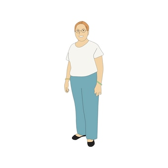 Illustrated mature woman standing alone