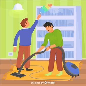 Illustrated men doing housework