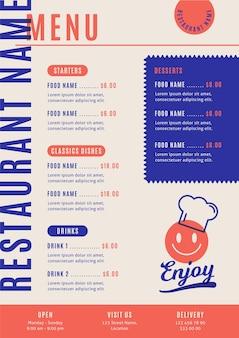 Illustrated menu for restaurant in vertical format