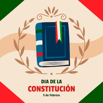 Illustrated mexico constitution day background with book