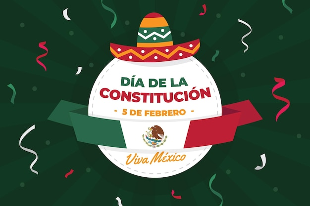 Illustrated mexico constitution day background with festive hat