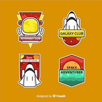 Illustrated modern space stickers