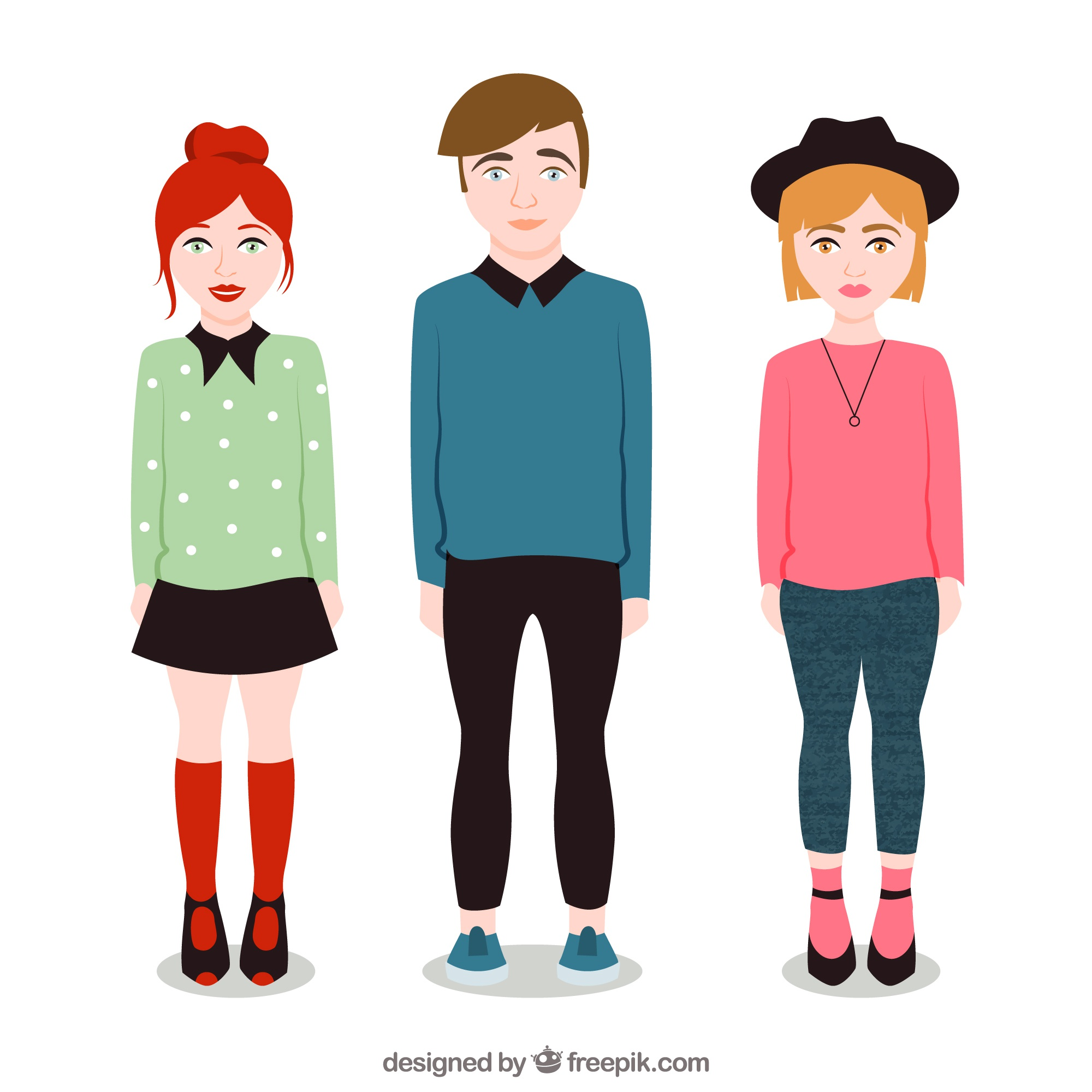 Illustrated modern young people