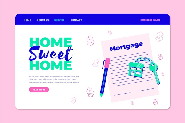 Illustrated mortgage landing page